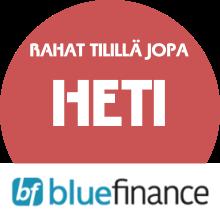 Blue Finance lainarahat tilillä: Heti (muutamassa minuutissa)